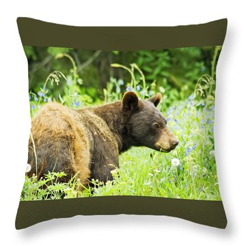 Bear In Flowers Throw Pillow