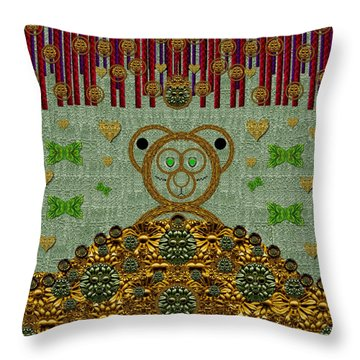 Bear In The Blueberry Wood Throw Pillow