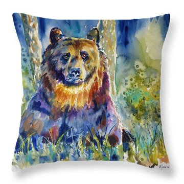 Bear In The Woods 2 Throw Pillow