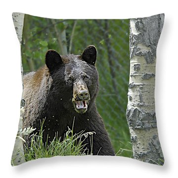 Bear In Yard Throw Pillow