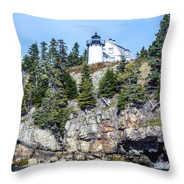 Bear Island Lighthouse Throw Pillow by Anthony Baatz