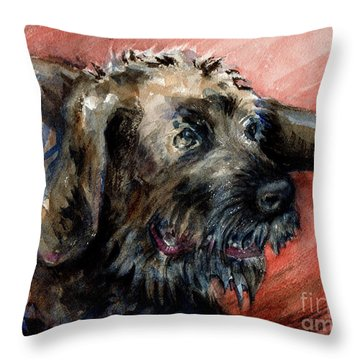 Throw Pillow featuring the painting Bear by Lora Serra