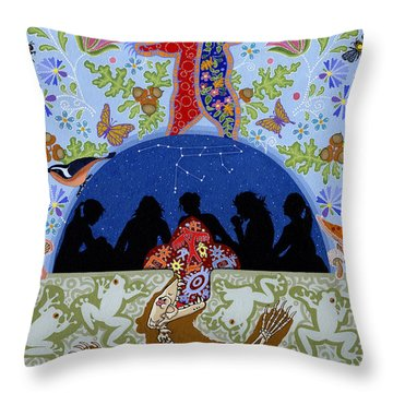 Throw Pillow featuring the painting Bear Medicine by Chholing Taha