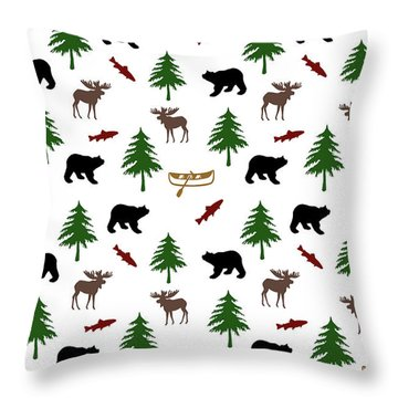 Throw Pillow featuring the mixed media Bear Moose Pattern by Christina Rollo
