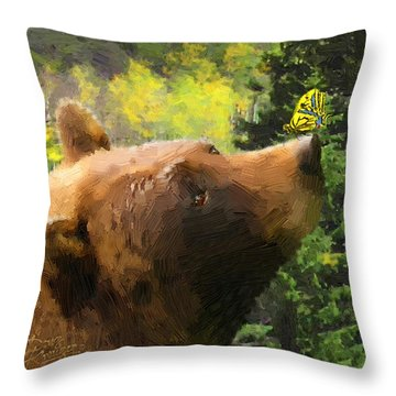 Throw Pillow featuring the painting Bear - N - Butterfly Effect by Doug Kreuger