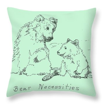 Throw Pillow featuring the drawing Bear Necessities by Denise Fulmer