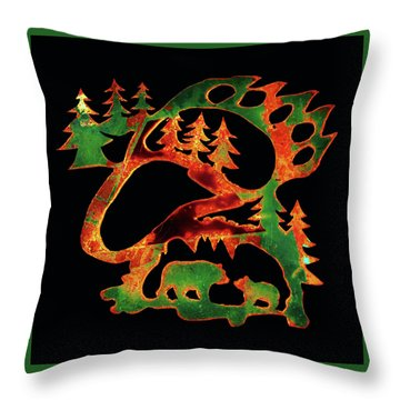 Emerald Bear Paw  Throw Pillow
