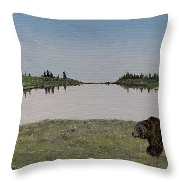 Throw Pillow featuring the painting Bear Reflecting by Kevin Daly