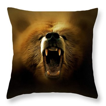 Bear Roar Throw Pillow by Lilia D