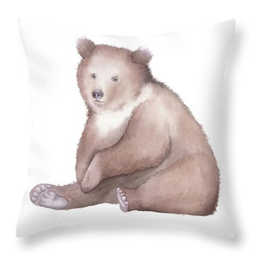 Throw Pillow featuring the painting Bear Watercolor by Taylan Apukovska