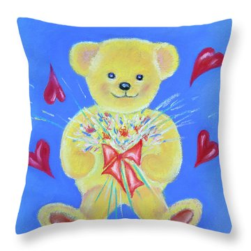 Bear With Flowers Throw Pillow