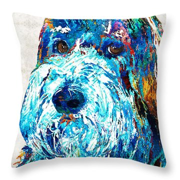Bearded Collie Art 2 - Dog Portrait By Sharon Cummings Throw Pillow