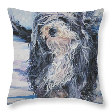 Bearded Collie In Snow Throw Pillow by Lee Ann Shepard