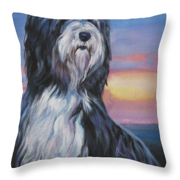 Bearded Collie Sunset Throw Pillow by Lee Ann Shepard