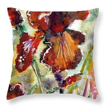 Bearded Iris Brown Sally Watercolor Throw Pillow