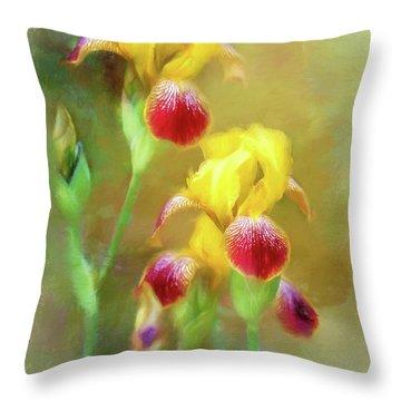 Bearded Iris Pair Throw Pillow