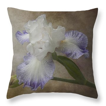 Throw Pillow featuring the photograph Bearded Iris 'gnuz Spread' by Patti Deters