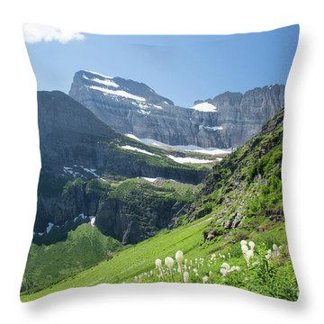Beargrass - Grinnell Glacier Trail - Glacier National Park Throw Pillow