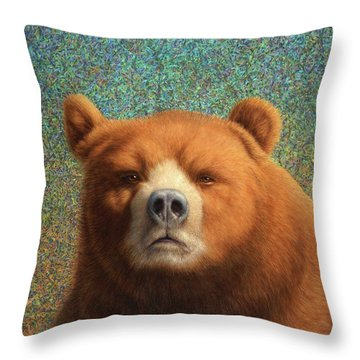 Bearish Throw Pillow by James W Johnson