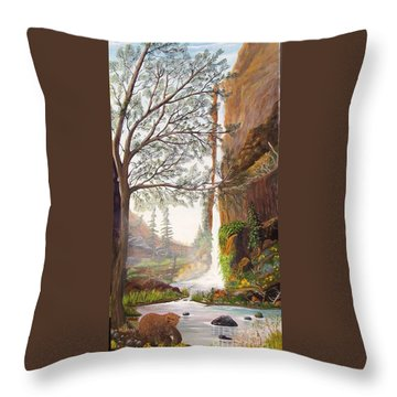 Bears At Waterfall Throw Pillow