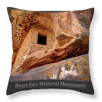 Bears Ears National Monument - Anasazi Ruin Throw Pillow by Gary Whitton