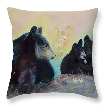 Throw Pillow featuring the painting Bears Frolicking In Spring by Jan Dappen