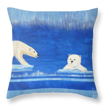 Bears In Global Warming Throw Pillow