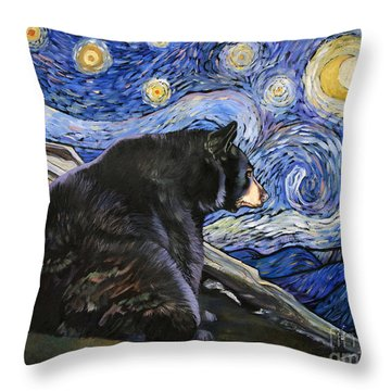 Beary Starry Nights Throw Pillow