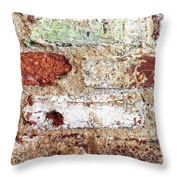 Throw Pillow featuring the photograph Beaten Brick Wall by Andrew Soundarajan