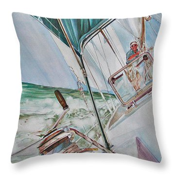 Beating Windward Throw Pillow