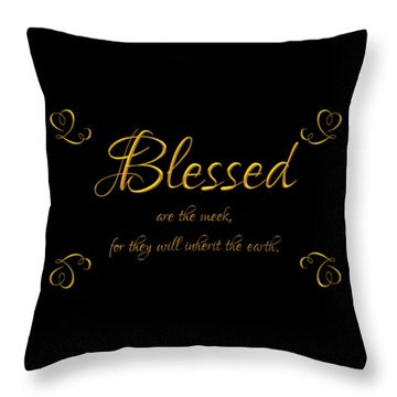 Throw Pillow featuring the digital art Beatitudes Blessed Are The Meek For They Will Inherit The Earth by Rose Santuci-Sofranko