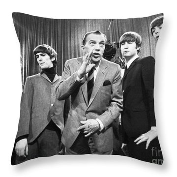 Beatles And Ed Sullivan Throw Pillow
