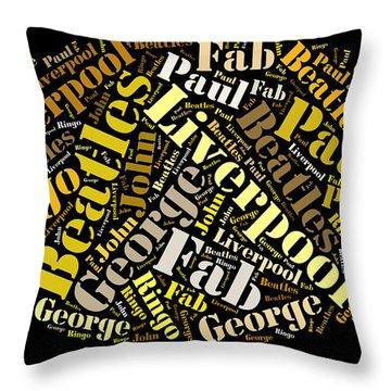 Beatles Word Art Throw Pillow by Allen Beilschmidt