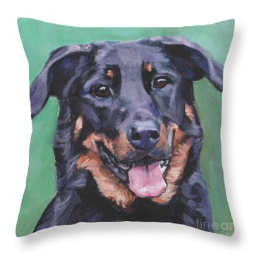 Throw Pillow featuring the painting Beauceron Portrait by Lee Ann Shepard