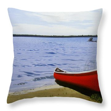 Beautiful Red Canoe Throw Pillow
