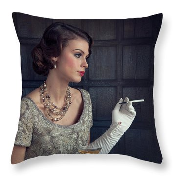 Beautiful 1930s Woman With Cocktail And Cigarette Throw Pillow