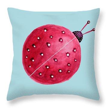 Beautiful Abstract Watercolor Ladybug Throw Pillow