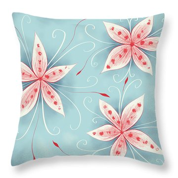 Beautiful Abstract White Red Flowers Throw Pillow