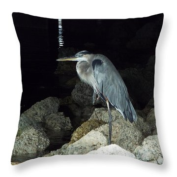 Beautiful And Patience Heron Throw Pillow