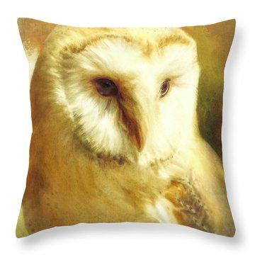 Beautiful Barn Owl Throw Pillow by Tina LeCour