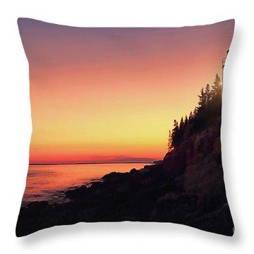 Beautiful Bass Harbor Lighthouse Throw Pillow