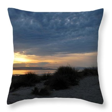 Beautiful Beach San Dunes Sunset And Clouds Throw Pillow