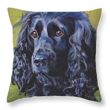 Throw Pillow featuring the painting Beautiful Black English Cocker Spaniel by Lee Ann Shepard