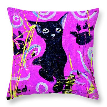 Throw Pillow featuring the mixed media Beautiful Black Pussy by eVol i