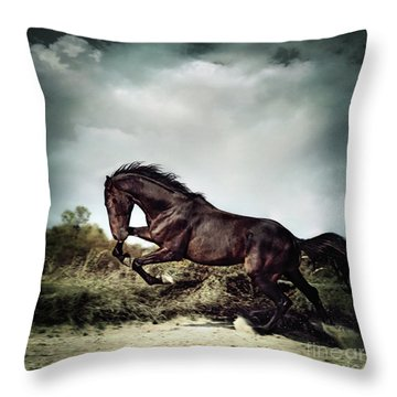 Beautiful Black Stallion Horse Running On The Stormy Sky Throw Pillow