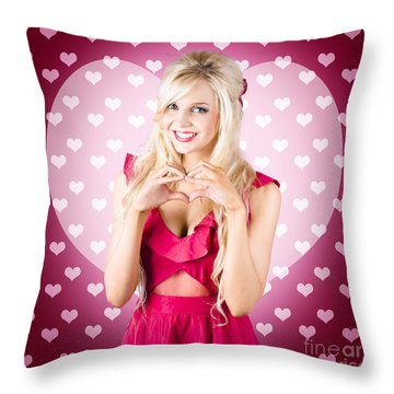 Beautiful Blonde Woman Gesturing Heart Shape Throw Pillow by Jorgo Photography - Wall Art Gallery