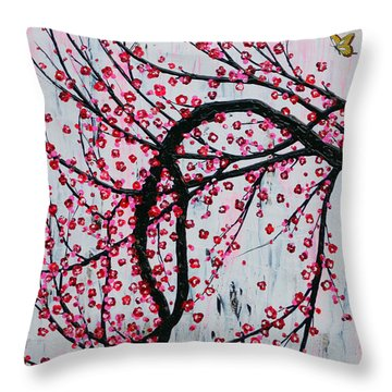 Throw Pillow featuring the painting Beautiful Blossoms by Natalie Briney