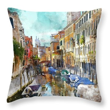 Beautiful Boats In Venice, Italy Throw Pillow