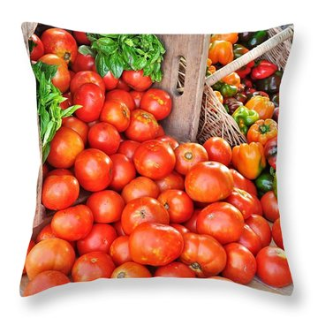 The Bountiful Harvest At The Farmer's Market Throw Pillow