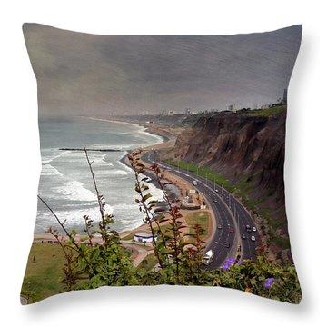 Beautiful Coastline Of Lima Throw Pillow